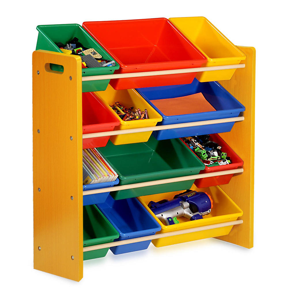a 4-layer yellow shelf with 12 colorful organizer boxes and toys in them