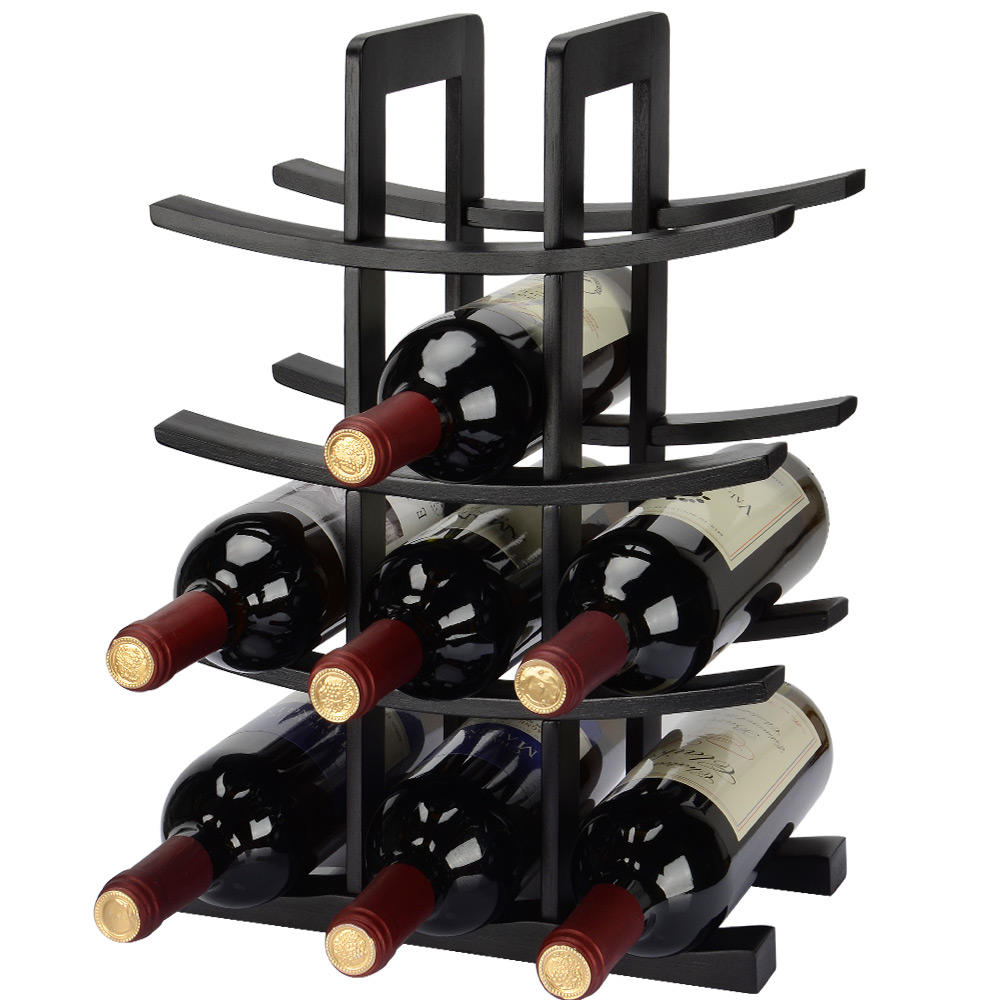 Wine Rack Storage Organizer 12-Bottle Dark Espresso Bamboo Countertop - SortWise™