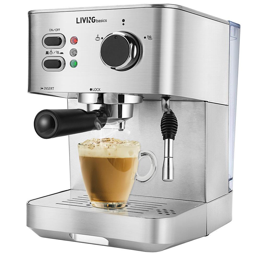 Espresso Machine, Coffee Maker, 15-Bar Pump, Steam Wand - LIVINGbasics™