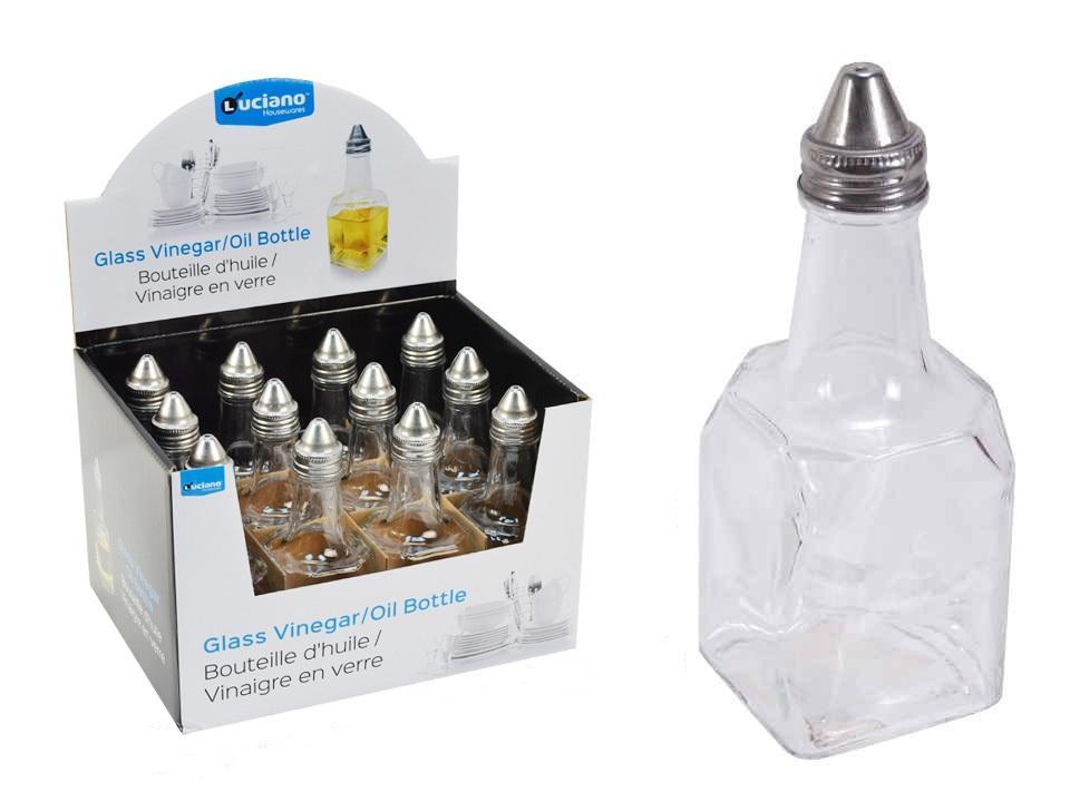 Clear Glass Olive Oil and Vinegar Dispenser Bottle